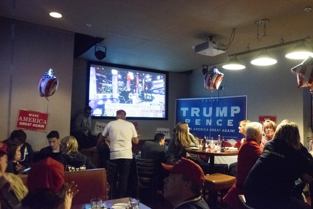 A viewing party for the Republican Party on Nov. 8, 2016 at FieldHouse at 213 Ann St. in East Lansing.