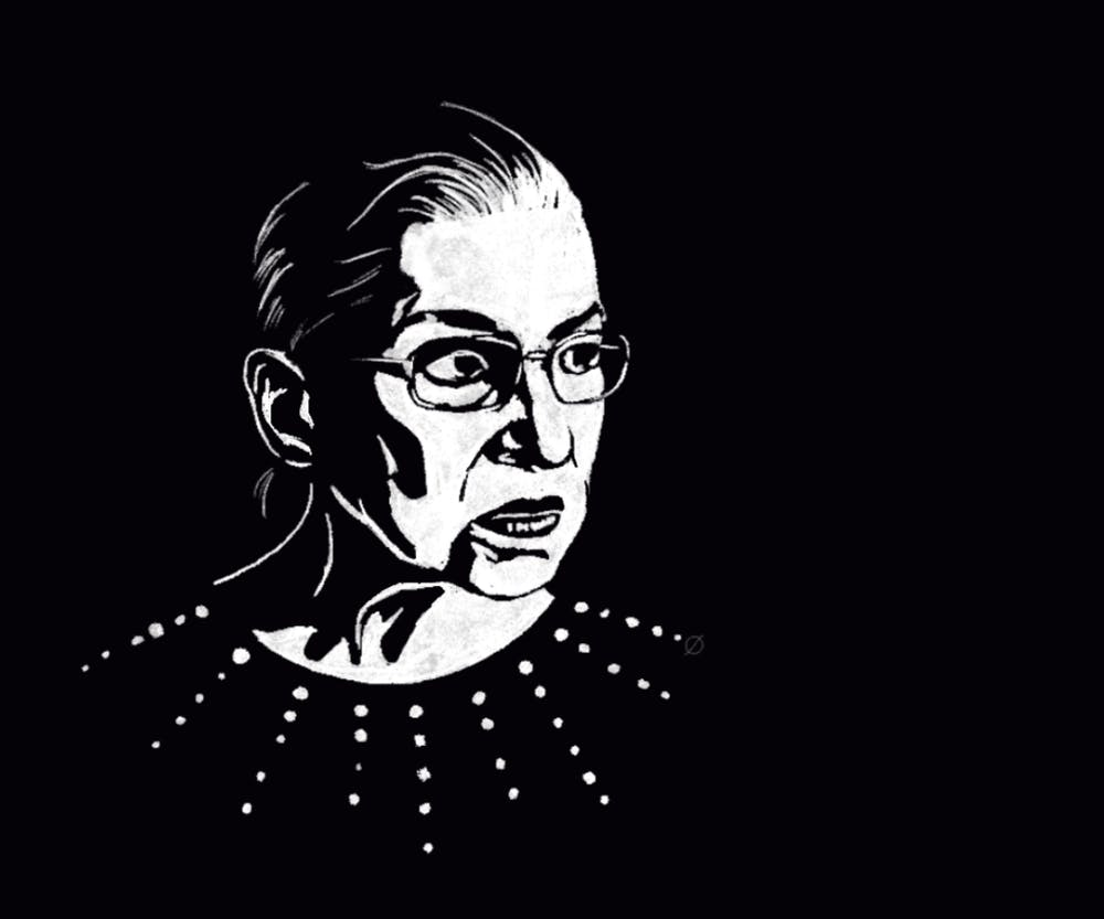 An image of Supreme Court Justice Ruth Bader Ginsburg (Illustration by Daena Faustino).