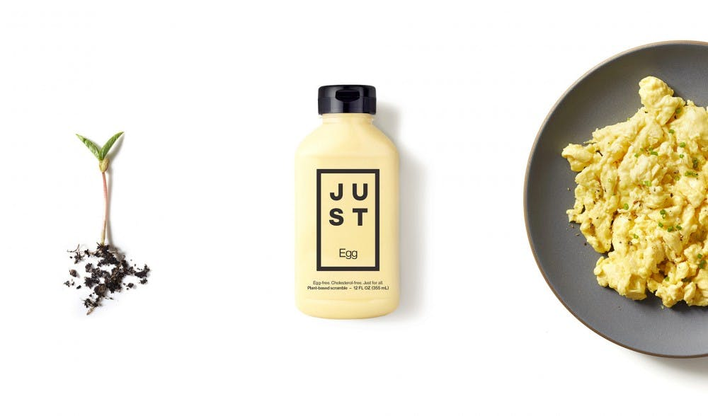 <p>JUST egg is an egg-free, dairy-free and cholesterol-free alternative to chicken eggs. It is made from the mung bean. Photo courtesy of JUST. </p>