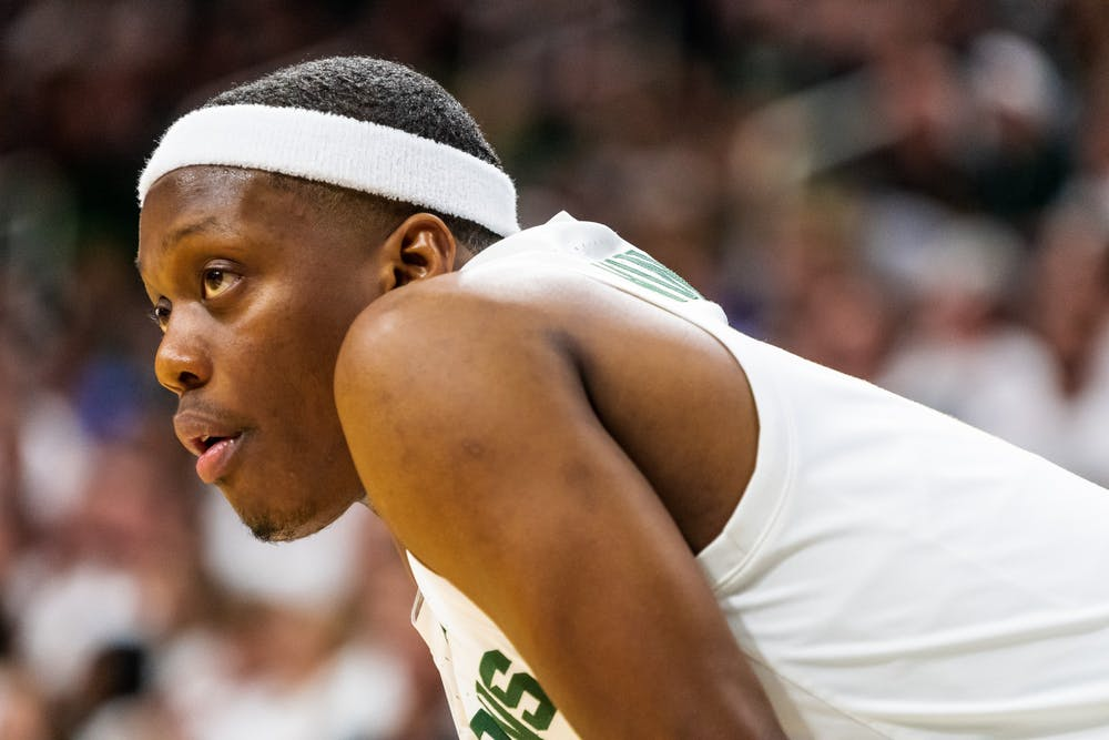 Senior guard Cassius Winston looks on against Albion College. The Spartans defeated the Britons, 85-50, at half at the Breslin Student Events Center on October 29, 2019.
