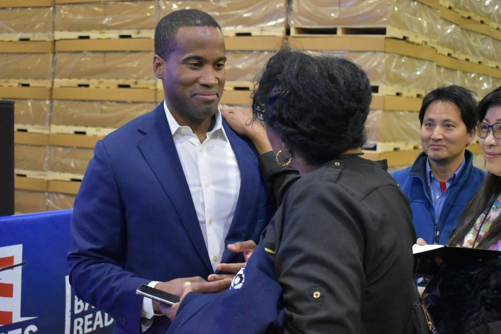 <p>Republican nominee for U.S. Senate John James speaks to supporters after it was projected that he was defeated by incumbent U.S. Sen. Debbie Stabenow on Nov. 6.</p>