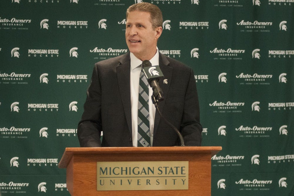"<p>New MSU Hockey Head Coach Danton Cole speaks during a press conference on April, 11, 2017 at Munn Ice Arena. Cole is a former MSU athlete and said ""it's good to be coming back home ... it was going to take a really special place for me to leave a special place.""&nbsp;</p>"