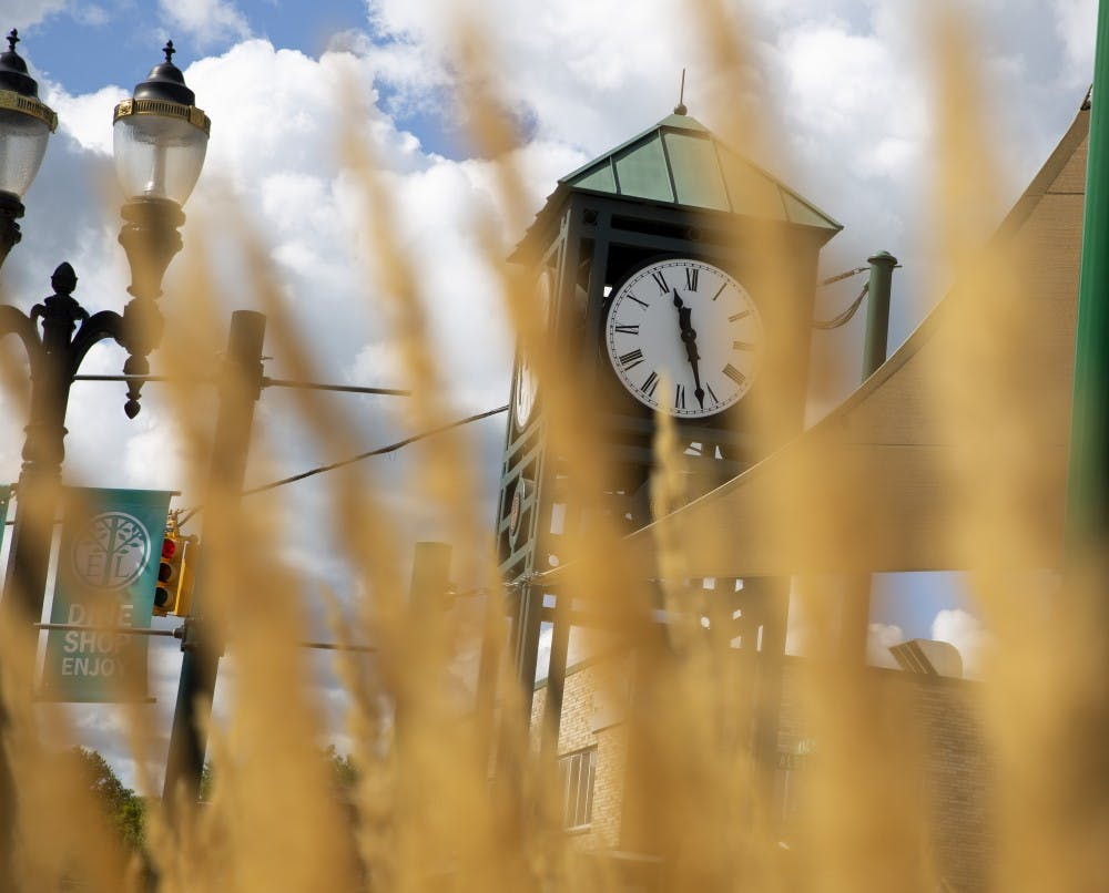 <p>The East Lansing clock tower photographed on Aug. 23, 2019. </p>