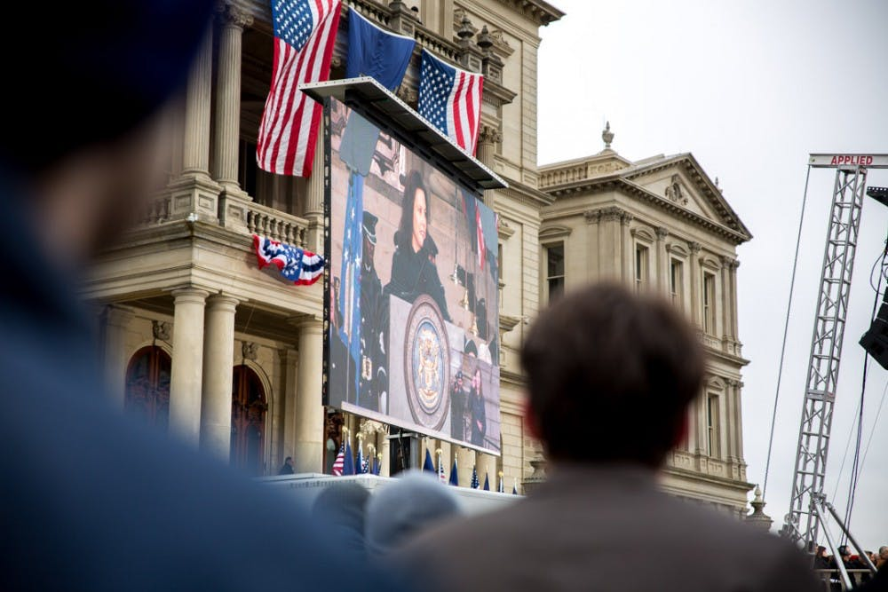People listen to Gretchen Whitmer's speech during the 2019 Inaugural swearing-in ceremony on Jan. 1 at the Michigan State Capitol Lawn. Whitmer will be serving as Michigan's 49th governor.