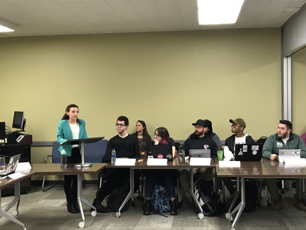"Political theory and constitutional democracy junior Katherine ""Cookie"" Rifiotis speaks to the Associated Students of Michigan State University on April 18, 2018. Rifiotis has become the organization's newest student body president."