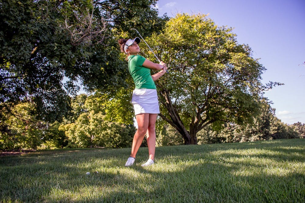 <p>Communication junior Allyson Geer Park practices her swing on Sept. 11, 2018 at the Lasch Family Golf Center in East Lansing. Geer earned the second-lowest single season scoring average in school history at 71.61 her sophomore year and recently received a sponsor exemption to play in the Meijer LPGA classic for the second year in a row over the summer.</p>