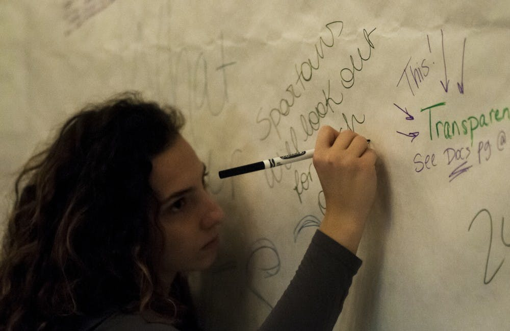 "James Madison Junior Katherine ""Cookie"" Rifiotis writes ""Spartans will look out for each other"" on a poster during the Teach-in/Learn-in: Building a Just MSU on Feb. 27, 2018 at MSU Union. (Annie Barker 