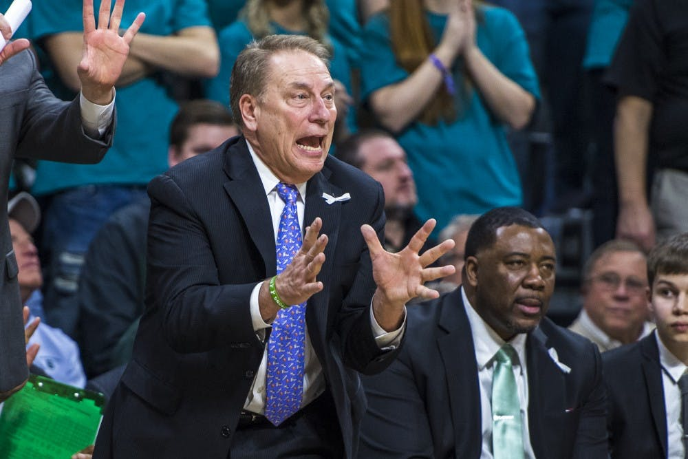 Michigan State's head coach Tom Izzo expresses emotion during the second half of the men's basketball game against Wisconsin on Jan. 26, 2018 at Breslin Center. The Spartans defeated the Badgers, 76-61. (Nic Antaya | The State News)