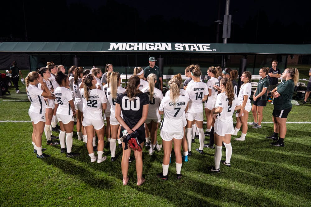 Michigan State Head Coach Jeff Hosler addresses his team, photo courtesy of MSU Athletics and Maria Babcock.