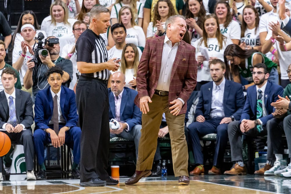 Coach Tom Izzo reacts to an explanation fro referee Paul Szelc during a game against Iowa. The Spartans defeated the Hawkeyes, 78-70, at the Breslin Student Events Center on February 25, 2020.