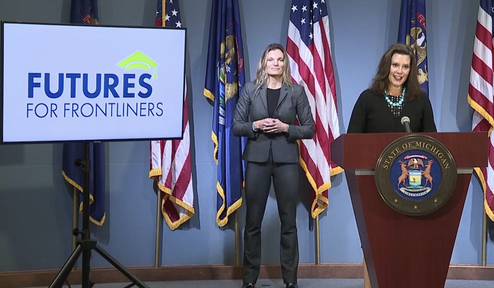 <p>Gov. Gretchen Whitmer introduces the Futures for Frontliners program.</p>