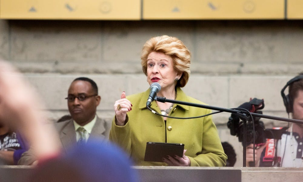 U.S. Sen. Debbie Stabenow addressed the crowd during the Michigan Women's March at the Charles H. Wright Museum of African American History on Jan. 19, 2019.