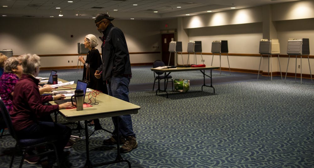 <p>People vote in the East Lansing City Council Election on Nov. 5, 2019 at Hannah Community Center.</p>