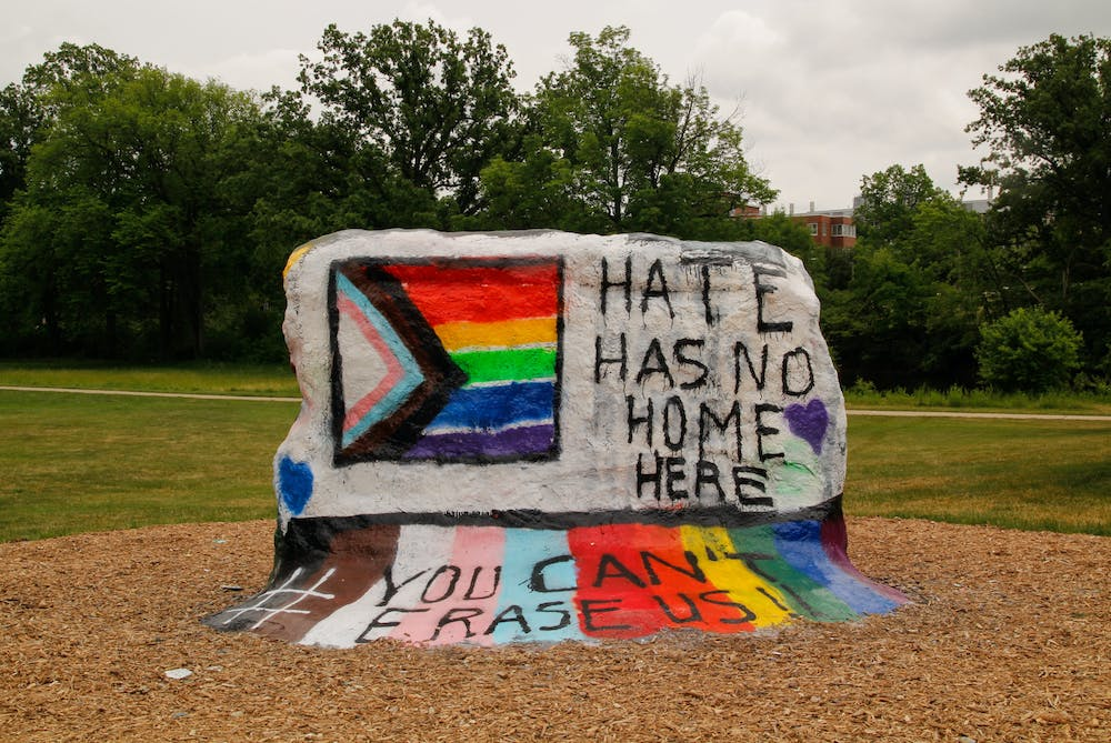 <p>The message was clear: Michigan State students would not allow for The Rock to be a vehicle for hate speech and they will continue to push until progress is made. The Rock was photographed on June 9, 2021.</p>