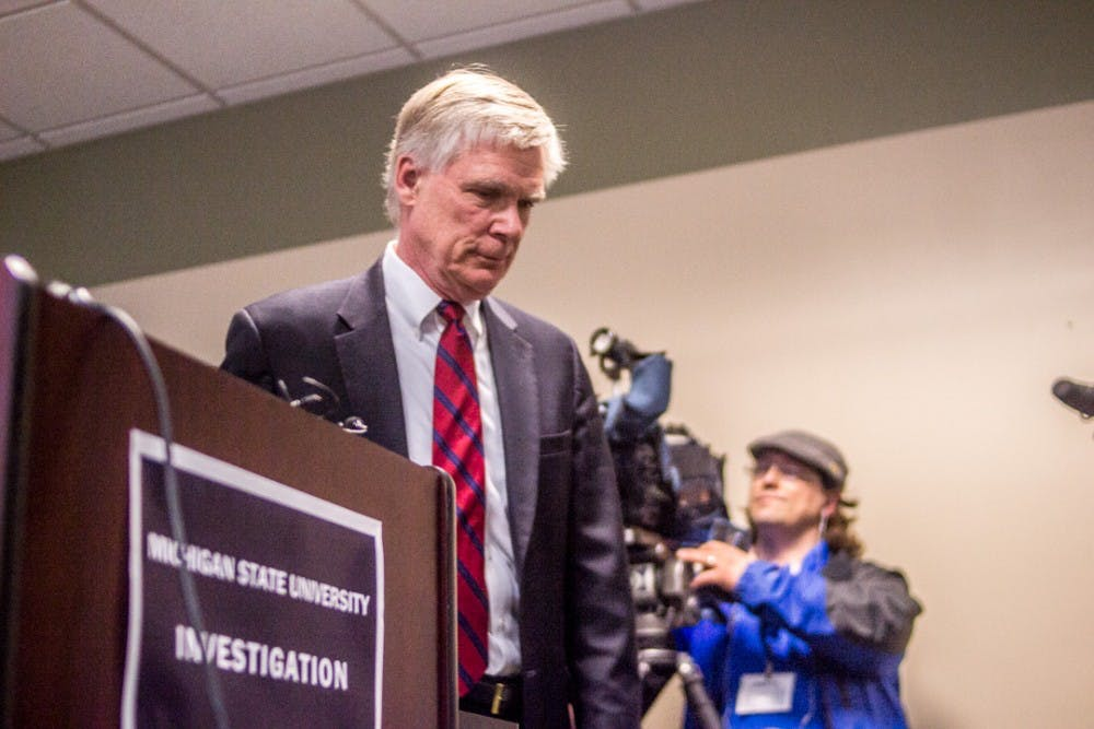 Special prosecutor and lead investigator Bill Forsyth exits the press conference on March 27, 2018 at 525 W. Ottawa in Lansing.