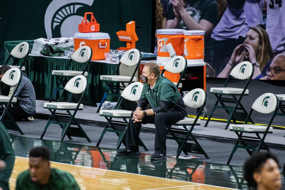 <p>Head Coach Tom Izzo sits and watches Purdue warmup prior to the Spartans&#x27; 55-54 loss to the Boilermakers on Jan. 8, 2021.</p>