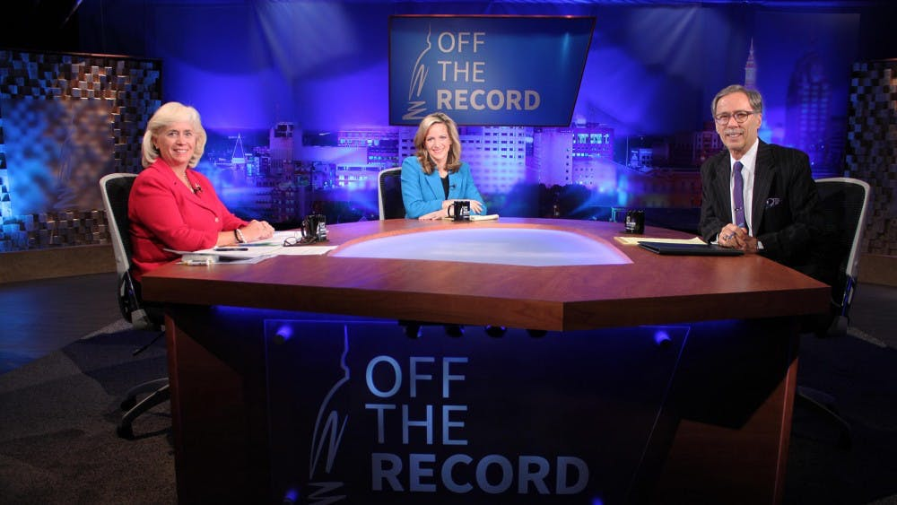 Republican nominee for secretary of state Mary Treder Lang faces Democrat Jocelyn Benson moderated by WKAR's Tim Skubick. Photo courtesy of WKAR-MSU.
