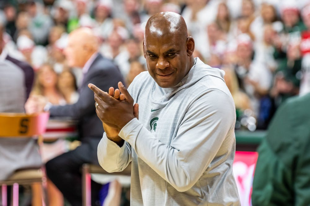 <p>New MSU football Head Coach Mel Tucker enters the Breslin Student Events Center during an airing of ESPN's College GameDay on Feb. 15, 2020. </p>