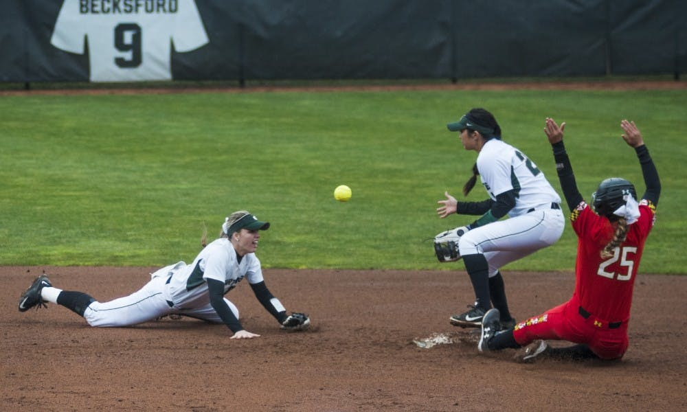 Junior short stop and second baseman McKenzie Long (22) tosses the ball to freshman short stop and second baseman Melanie Baccay (21) during the game against Maryland on March 31, 2017 at Secchia Stadium. The Spartans defeated the Terrapins, 11-3.