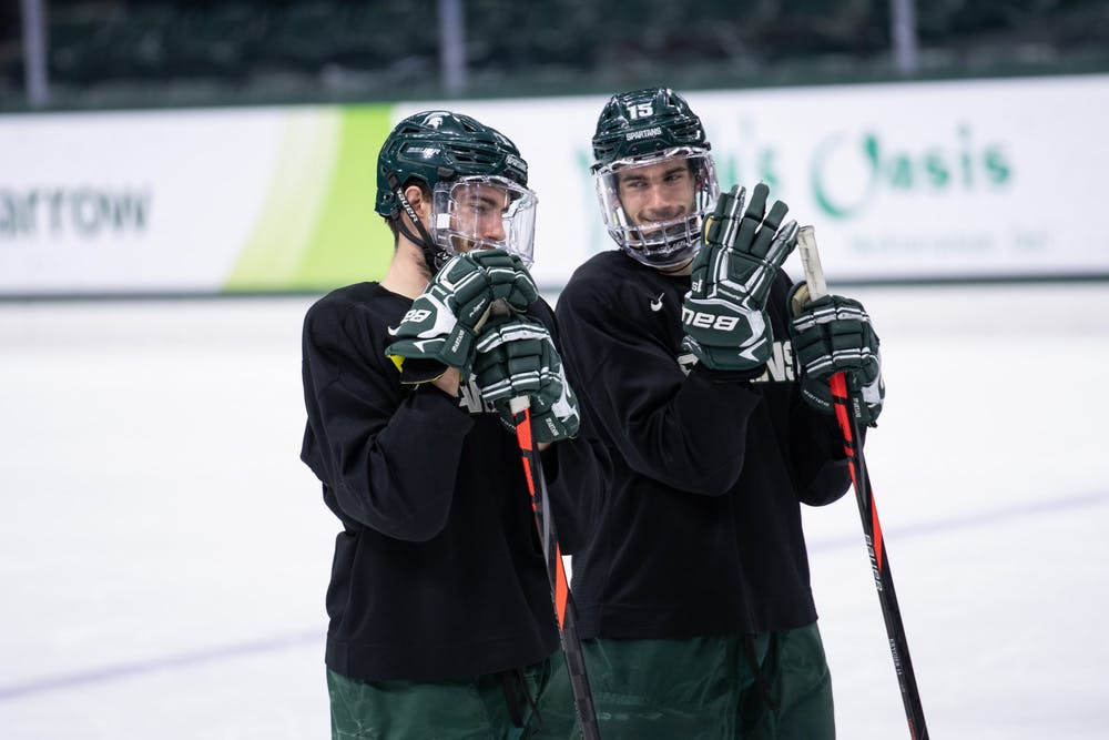 <p>Cole (left) and Christian (right) Krygier are pictured at practice Nov. 5, 2019 at Munn Ice Arena.</p>