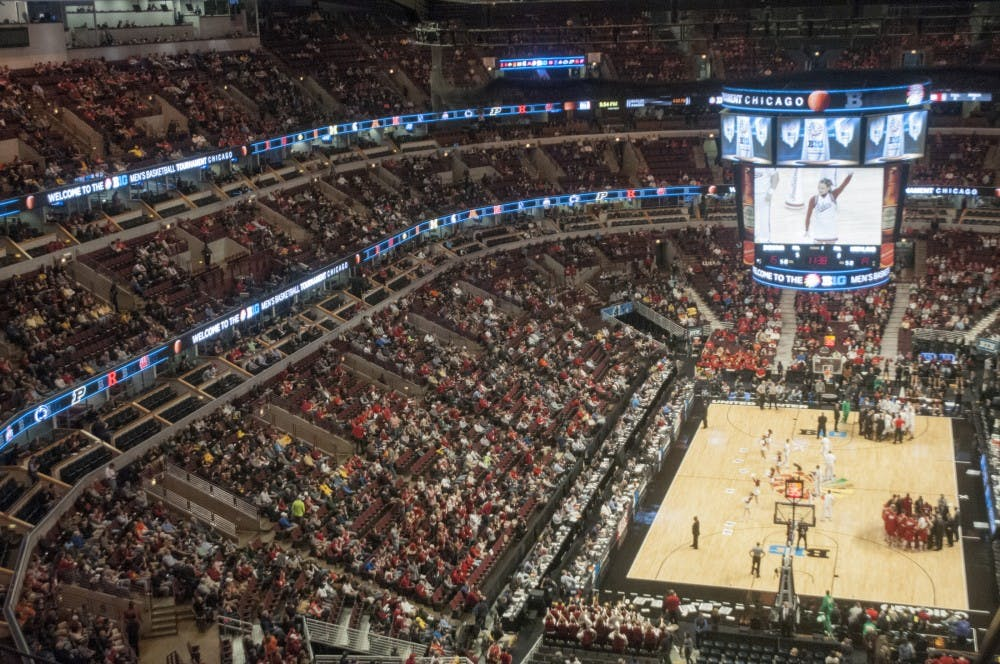 <p>Spartan fans begin taking their seats as Indiana and Maryland play in the ninth game of the Big Ten Tournament on Mar. 13, 2015, at United Center in Chicago. The fans waited for the Spartans to take on the Ohio State Buckeyes in Game 10, scheduled to begin 25 minutes after Game 9. </p>