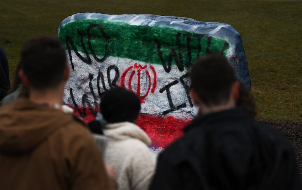 <p>The Rock on Farm Lane is painted with &quot;No War With Iran&quot; for a protest against war in Iran on January 10. </p>