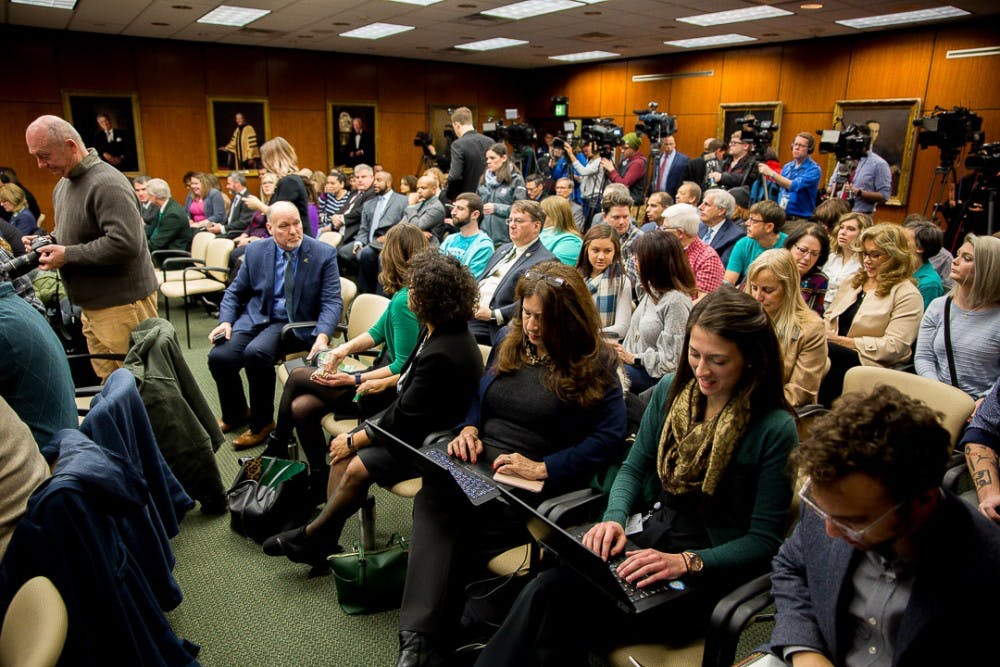A packed room of media and community members during a Board of Trustees meeting on Jan. 13, 2019 at the Hannah Administration Building. Satish Udpa was named the new interim president.