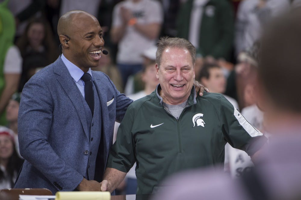 <p>College GameDay&#x27;s Jay Williams shakes hands with men&#x27;s basketball Head Coach Tom Izzo during ESPN&#x27;s College GameDay on Feb. 2, 2019, at the Breslin Center. Nic Antaya/The State News</p>