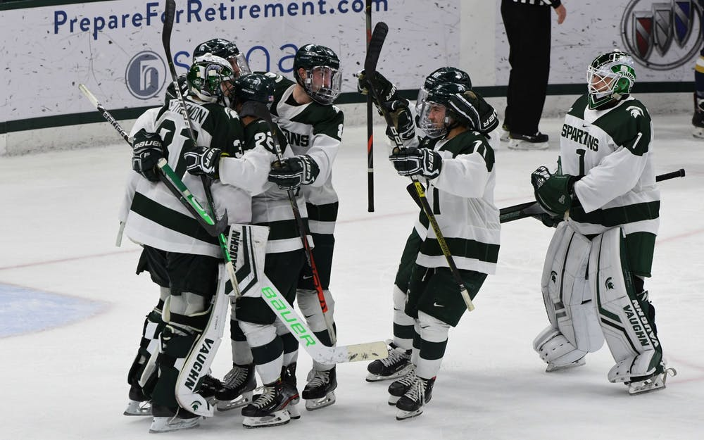 <p>As the buzzer sounds at Munn Ice Arena, it was official: The Spartans upset the Fighting Irish, 3-2, on Nov. 23, 2019. Two goals went to senior right wing Sam Saliba (10) and one goal went to Logan Lambdin (71).</p>