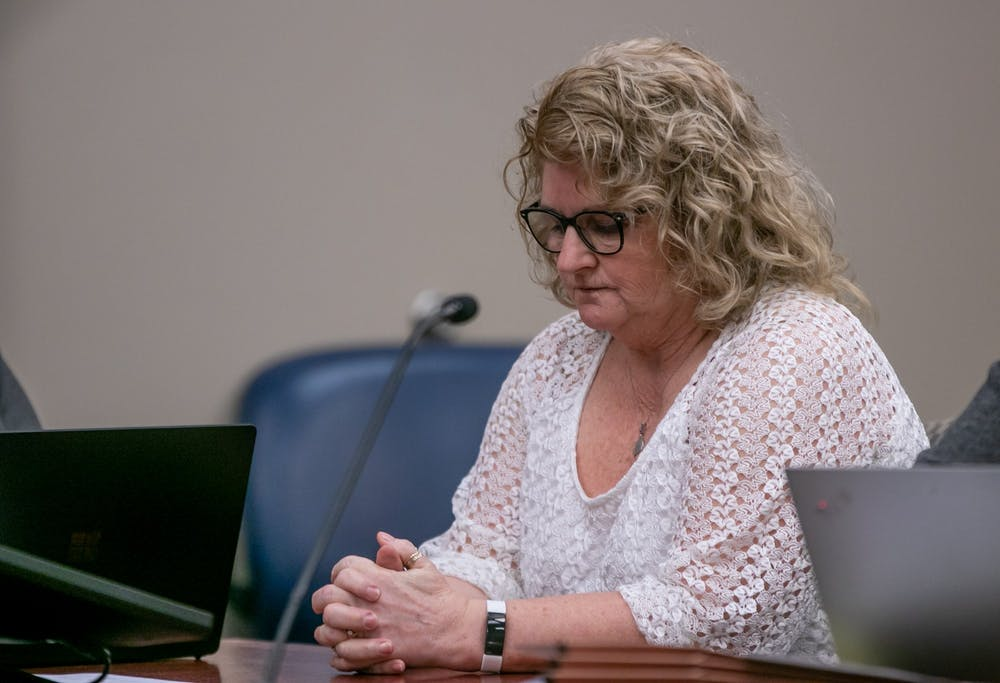 <p>Former MSU gymnastics coach Kathie Klages sits at a motion to strike an expert witness at Veterans Memorial Court Feb. 5, 2020.</p>