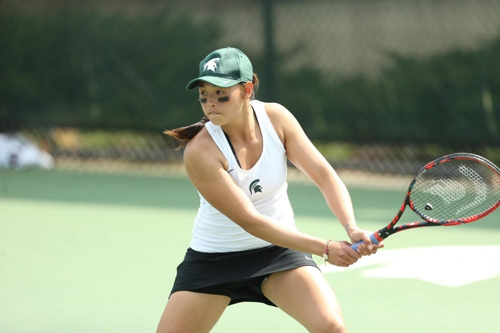 <p>Aslina Chua, an MSU women's tennis player, won the Cissie Leary Award for the 2016-17 season. Photo courtesy of MSU Athletic Communications and Matt Mitchell.</p>