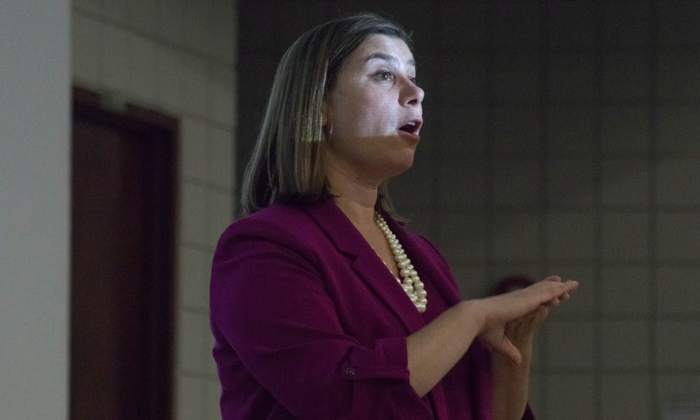 <p>U.S. Rep. Elissa Slotkin speaks to the MSU College Democrats at Wells Hall on Sept. 18, 2018.</p>