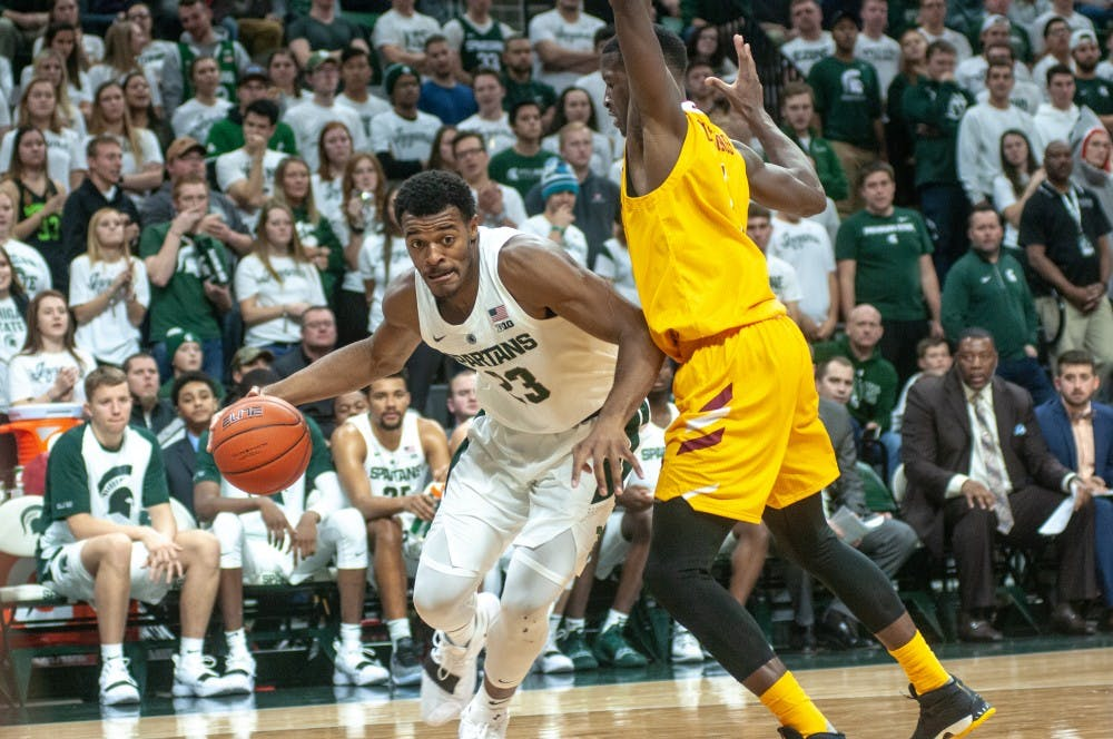 Sophomore forward Xavier Tillman (23) moves down the court during the game against University of Louisiana-Monroe at Breslin Center on Nov. 14, 2018. The Spartans defeated the Warhawks, 80-59.