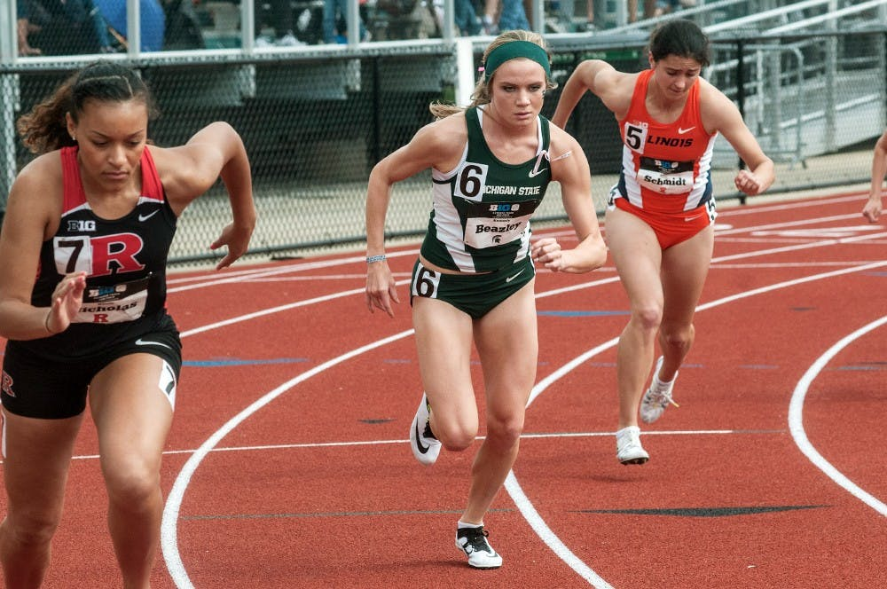 <p>Freshman Kennedy Beazley competes in the 800-meter trials on May 16, 2015 at the 2015 Big Ten Track and Field Championships at Ralph Young Field in East Lansing, Mich. Ryan Squanda/The State News</p>