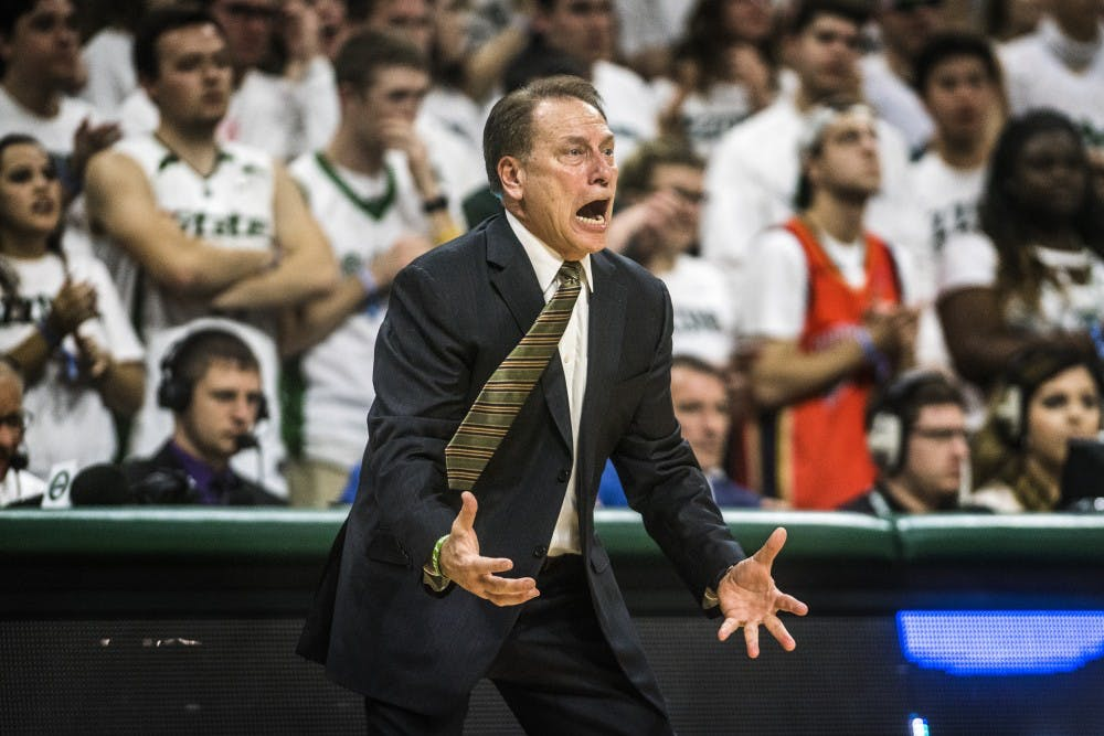 Head Coach Tom Izzo yells at the Spartans during the game against Notre Dame on Nov. 30, 2017 at Breslin Center. The Spartans took down the Fighting Irish, 81-63.