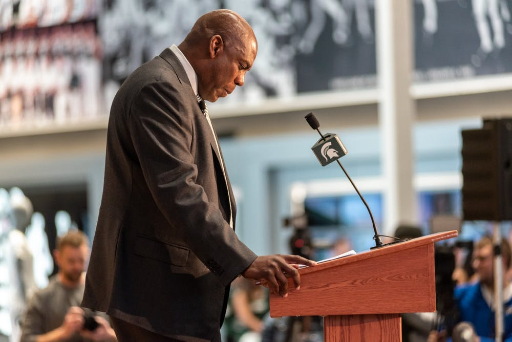 New head football coach Mel Tucker speaks at his introductory press conference at the Breslin Student Events Center on February 12, 2020.