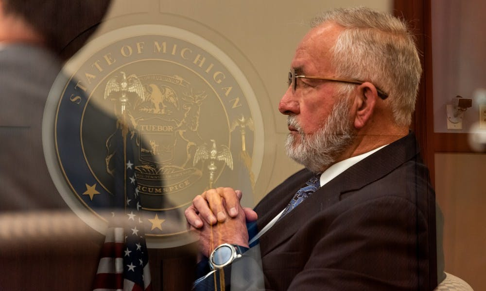 <p>The MSU College of Osteopathic Medicine's former Dean Dr. William Strampel (right) on trial at the Ingham Count Circuit Court on June 4, 2019.</p>