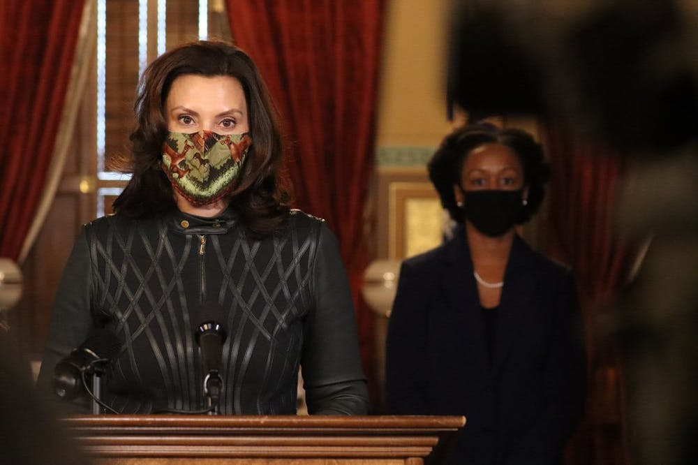 <p>Gov. Gretchen Whitmer, with Chief Medial Executive Dr. Joneigh Khaldun, provided an update on COVID-19 in Michigan on Dec. 1, 2020. Photo courtesy of Michigan Executive Office of the Governor.</p>