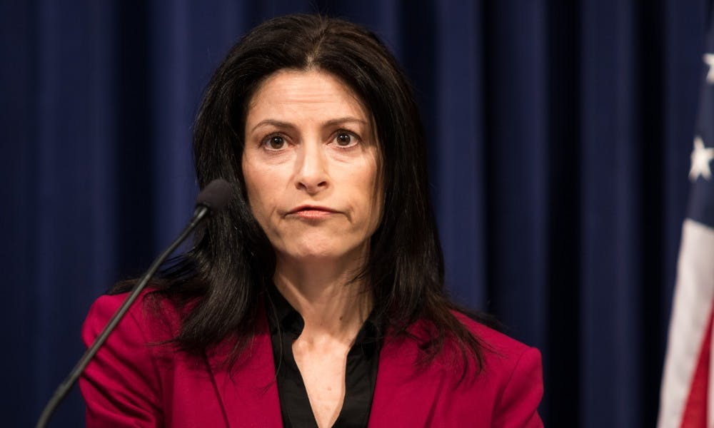 <p>Michigan Attorney General Dana Nessel speaks during a press conference at the G. Mennen Williams Building in Lansing on Feb. 21, 2019.</p>