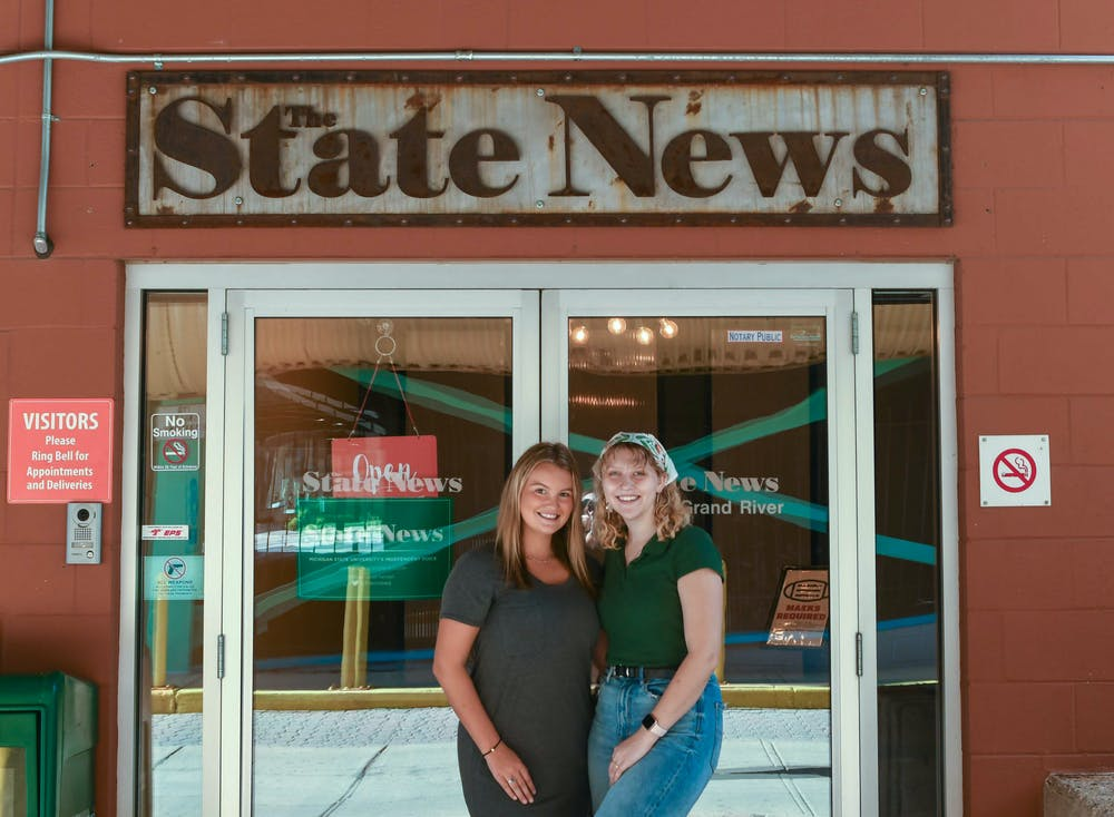<p>Editor-in-chief Karly Graham and managing editor Jayna Bardahl in front of The State News. Shot on Aug. 30, 2021. </p>