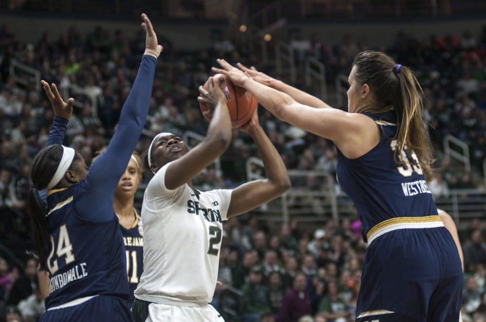 Freshman forward Mardrekia Cook (2) attempts a shot during the game against Notre Dame on Dec. 20, 2016 at Breslin Center. The Fighting Irish defeated the Spartans, 79-61.