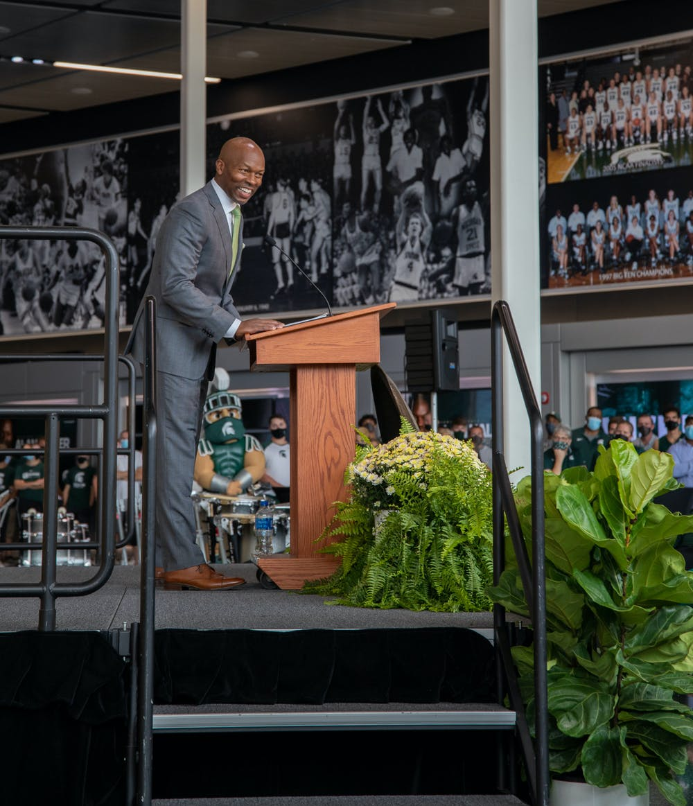 <p>Alan Haller takes the stage as the new MSU Athletic Director after being introduced by fifth-year sprinter Brooke Bogan at the Tom Izzo Hall of History at the Breslin Center on Tuesday, Sept. 7, 2021.  </p>