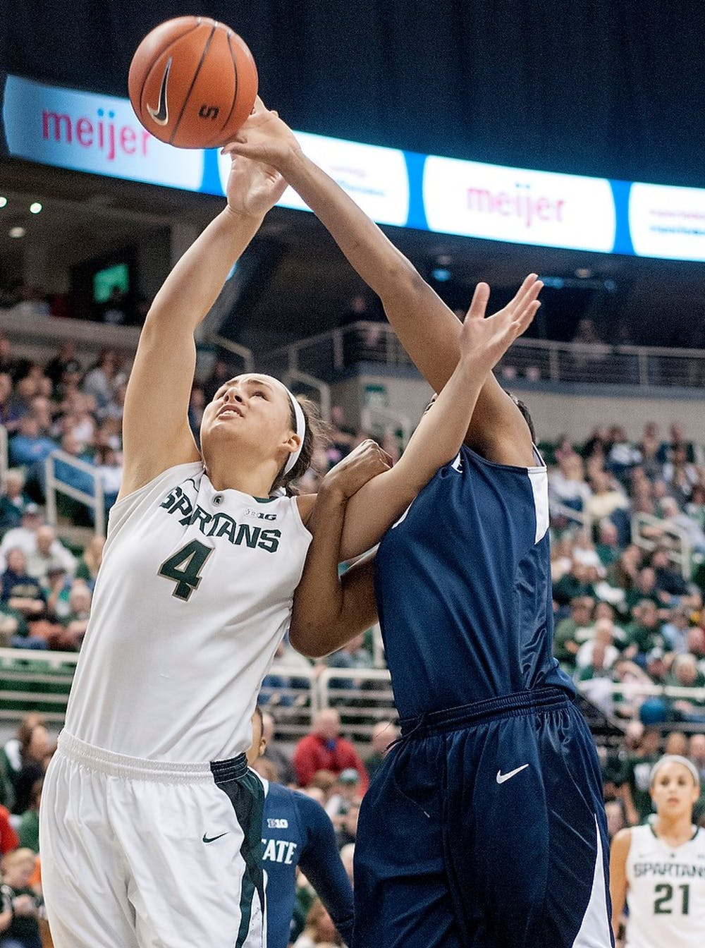 <p>Sophomore center Jasmine Hines loses possession of the ball to Penn State on Jan. 6, 2013, at Breslin Center. The Spartans lost to the Nittany Lions 76-55. Natalie Kolb/The State News</p>