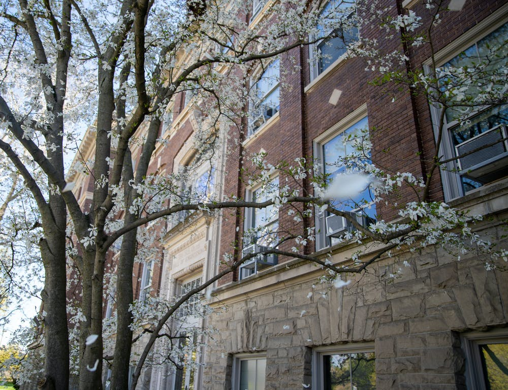<p>April 13- Outside of Olds Hall which is where Michigan State's Office of Institutional Equity (OIE) is located on campus in East Lansing.</p>
