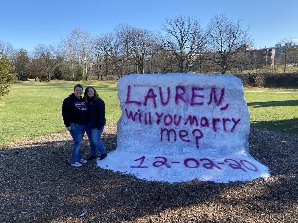 <p>Allison Van Ee and Lauren Tofilski pose together at The Rock on Farm Lane shortly after Tofilski accepted Van Ee&#x27;s proposal on Feb. 12, 2020.</p>