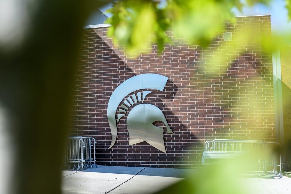 <p>The Michigan State Spartan logo on a building, photographed August 31, 2020.</p>
