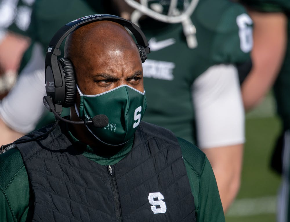 <p>Head Coach Mel Tucker enters Spartan Stadium for a game against Indiana University on Nov. 14, 2020.</p>