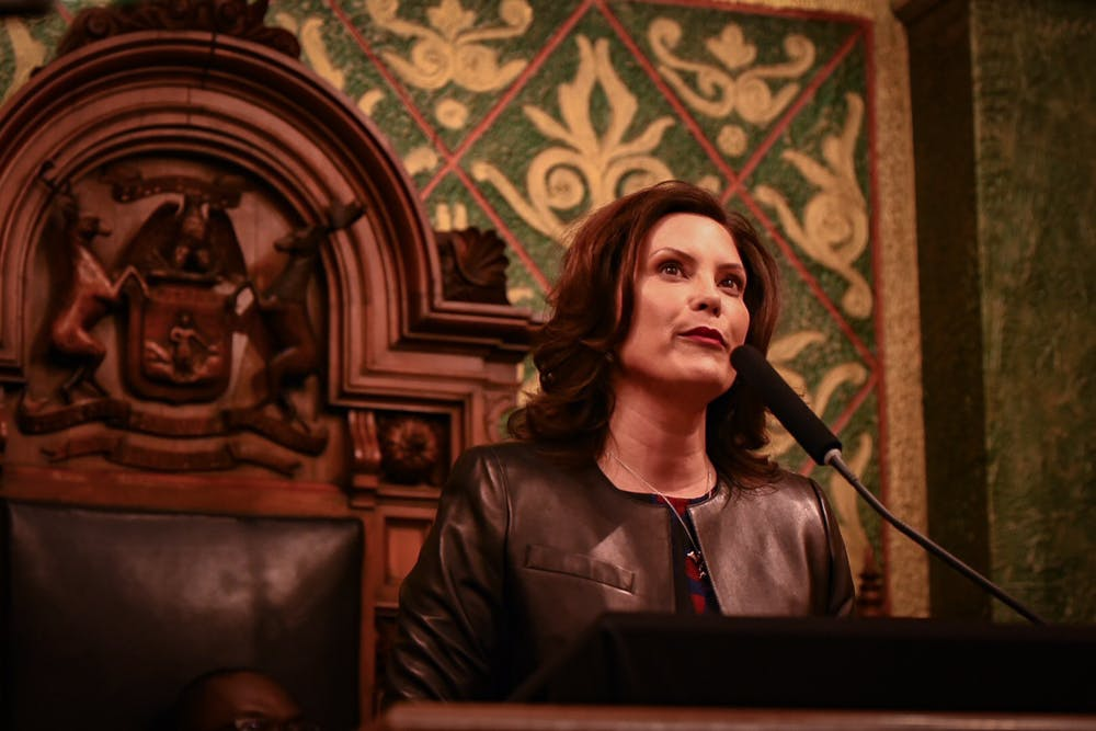 <p>Michigan Gov. Gretchen Whitmer during her State of the State address at the Michigan State Capitol building in Lansing on Jan. 29, 2020.</p>