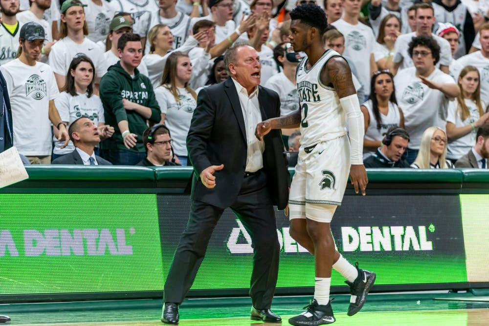 Coach Tom Izzo yells at freshman guard Rocket Watts during a game against Maryland. The Spartans fell to the Terrapins, 60-67, at the Breslin Student Events Center on February 15, 2020.