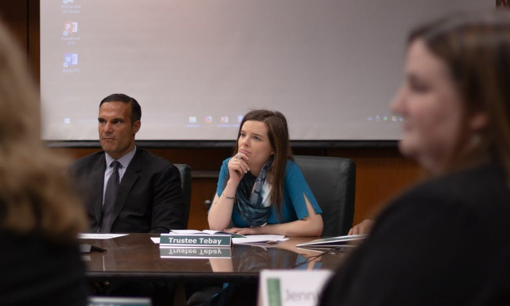MSU Trustee Kelly Tebay listens to presentations at the MSU Board of Trustees meeting on Wednesday, January 9, 2019.